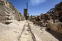 Railway in industrial area of abandoned Mining Town of Elizabeth Bay - near Luderitz, Namibia, Africa.
