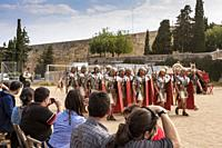 Roman Legionairres marching during an exercise recreated during the annual festival 'Tarraco Viva', which pays homage to Tarrogana's Roman heritage, C...