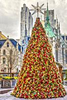 Lotte New York Palace - View to the luxury hotel courtyard decorated for Christmas during the holidays with Saint Patricks Cahtedral & theRockefeller ...