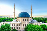 View of Mevlidi Halil Mosque,one of landmarks in Sanliurfa,Turkey. 18 July 2018.
