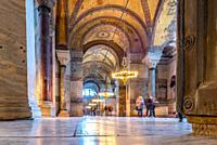 ISTANBUL,TURKEY- MARCH 11: The Hagia Sophia (The Church of the Holy Wisdom or Ayasofya in Turkish) spectacular Byzantine landmark and world wonder in ...