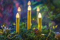 Three Christmas candles in a Christamas decoration.
