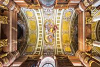 View of the ceiling of the Austrian National Library in Vienna, Austria.
