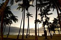 Sunset in the Beach of Waikiki Beach. O´ahu. Hawaii. Waikiki is most famous for its beaches and every room is just two or three blocks away from the s...