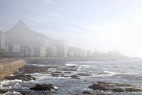 Apartments Along Sea Point Promenade in Light Fog - Cape Town , South Africa.