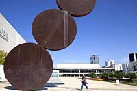Hitromemut Sculpture by Menashe Kadishman on Habima Square in tel Aviv, Israel.