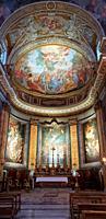 Interior view. Basilica Madonna del Miracolo Church S. Andrea delle Fratt, Rome, Italy.