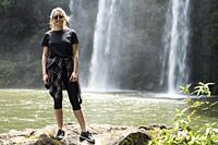 Woman. Whangarei Falls, Hatea River, Whangarei Scenic Reserve, Tikipunga, North Island, New Zealand.