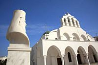View to the statue and the Orthodox Church in the old town Chora, Naxos, Cyclades Islands, Greek Islands, Greece, Europe