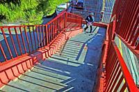 stairs with red railing, Cornellà de Llobregat, Catalonia, Spain