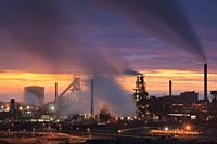 The Tata Steelworks at Port Talbot, in South Wales, captured at sunset from an inland section of the Wales Coast Path on an evening in mid February.