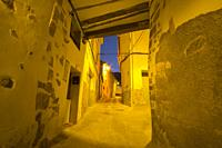 Arcos de las Salinas village by dusk Teruel province Aragon Spain.