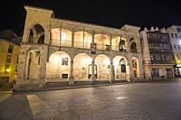 Zamora city Castile and Leon Spain . The city hall at night.
