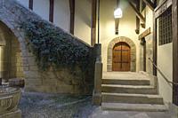 Medieval city hall at Old mediterranean village Rubielos de Mora, province of Teruel, Aragon-Spain.