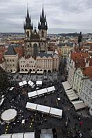 Church of Our Lady before Tyn, view from Old Town Hall, Old Town Square, Prague, Czech Republic.