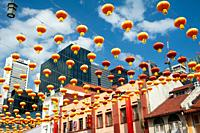 Singapore, Republic of Singapore, Asia - Annual street decoration with lanterns along South Bridge Road for the Chinese Lunar New Year celebration in ...