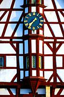 Half-timbered building of Town Hall, close-up of tower clock, Rathausplatz - Town hall square, Forchheim, Franconian Switzerland, Upper Franconia, Fra...