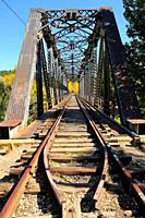 Old railway bridge. City of Soria. Castilla y León. Spain