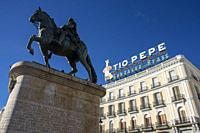 Equestrian monument of Carlos III in Puerta del Sol square in the city centre, Madrid, Spain.