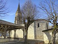 market halle and Protestant Church, Laparade, Lot-et-Garonne Department, Nouvelle Aquitaine, France.
