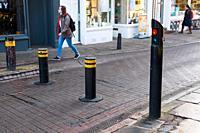 Automatic rising bollards to restrict traffic in Cambridge city centre, Cambridgeshire, England, UK.