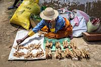 Firewood stand, food market, Fianarantsoa city, Madagascar.