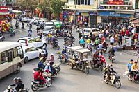 Traffic congestion in city centre, Hanoi, Vietnam, Asia.