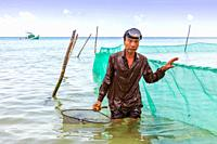 Local Vietnamese fisherman using a hand net and fishing nets off shore at Bai Dai Tay beach in the Gulf of Thailand, Phu Quoc Island, Vietnam, Asia.