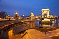 Evening at the Chain Bridge across the Danube in Budapest, Hungary.