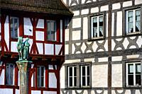 Half-timbered buildings at Rathausplatz - Town hall square, in front Kriegerbrunnen - Warrior fountain, historic part of Forchheim, Forchheim, Francon...