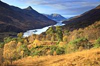Loch Leven and the Pap of Glencoe in the Scottish Highlands, captured from a high vantage point on the footpath from Grey Mare Falls to Mamore Lodge o...
