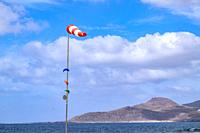 Windsock showing the wind direction but also the wind force in the Beaufort scale, Las Palmas de Gran Canaria.