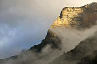 Rocky wall in the Pyrenees, Ordesa Valley National Park, Aragon, Huesca, Spain.