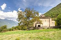 Church in Oros Bajo village, Tena Valley, Huesca, Spain.