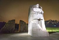 Light illuminates the Stone of Hope at the Martin Luther King Jr. Memorial at night, Washington, D. C.