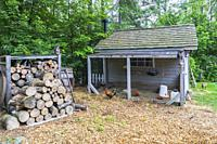 Chicken coop with cedar shingles roof next to pile of stacked firewood in residential backyard in early summer