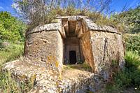 Etruscan circular Tumulus Tomb with Domos (entrance passage), 6th century BC, Necropoli della Banditaccia, Cerveteri, Italy. A UNESCO World Heritage S...