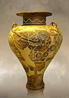 Photo of a jug decorated with stylised birds bands showing Cycladic and Minoan influences. Mycenae Grave find, Greece. 15th century BC, , National Arc...