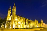 Mosteiro dos Jeronimos, Monastery of the Hieronymites at night, Unesco World Heritage Site, Belem district, Lisbon, Portugal.