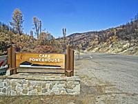 Carr Powerhouse sign near the origin of the Carr Fire in northern California in 2018. The fire was started in July 2018 by a disabled vehicle near thi...