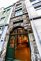 The narrowest building in Alesund, Norway on Kongens gate (a pedestrian street) contains an art gallery. The town is famous for its art nouveau (Jugen...