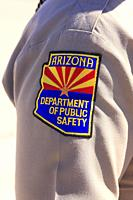 Close-up of the arm badge of a member of the Arizona Department of Public Safety (Police) in Tucson.