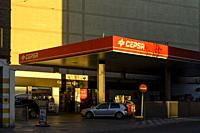 View of petrol station in Cuenca city, Spain