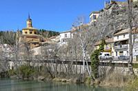 View of bridge in the San Anton quarter, Cuenca city, Spain