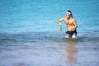 Turquoise water in Formentera Es Calo de San Agusti beach Balearic islands Spain on September 5, 2018.