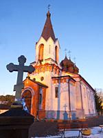 poland. Mielnik. Podlasie region. Orthodox church at sunset