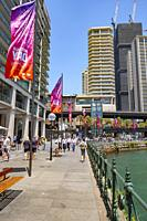 Australia Day banners displayed at Circular Quay in Sydney city centre.