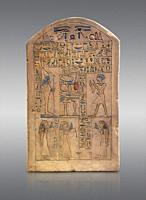 Ancient Egyptian limestone funerary stele of Ipepi with his wife, mother and sister in front of Osiris. Middle Kingdom, 11th Dynasty, 2120-1980 BC. Ne...