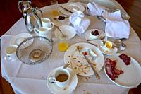After Luxury Room Service Breakfast in Hotel, Switzerland.