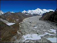 NEPAL Ngozumpa Glacier -- 16 Apr 2005 -- Aerial view of the main Ngozumpa (Gokyo) glacier, one of the largest in the Everest region. Scientists have w...